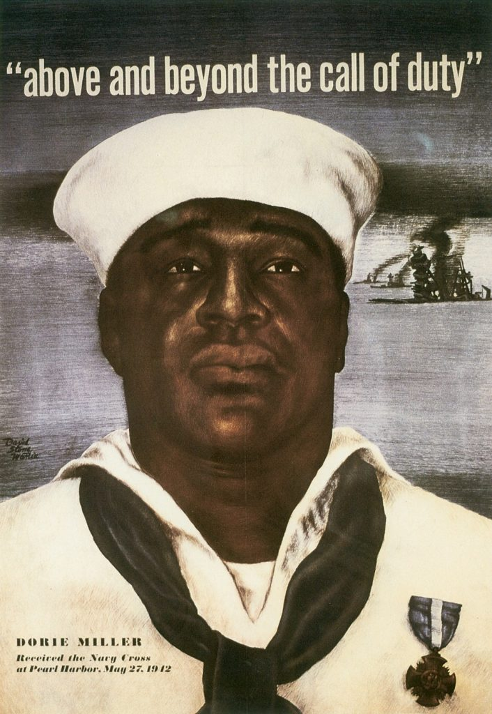 US poster, 1943, honoring Dorie Miller, recipient of the Navy Cross for his actions at Pearl Harbor