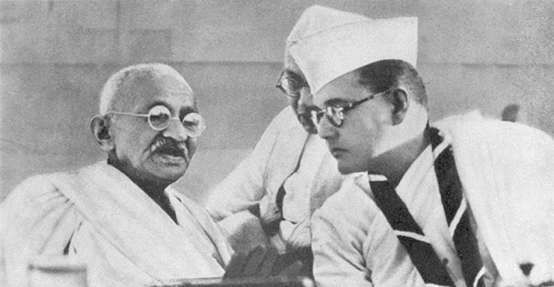 Mohandas Gandhi and Subhas Chandra Bose at the meeting of the Indian National Congress, Haripura, India, 1938 (public domain via WW2 Database)
