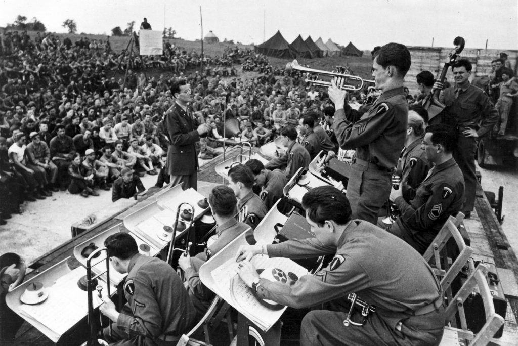 Maj. Glenn Miller and his Army Air Force band in an open-air concert, WWII (USAF Photo)