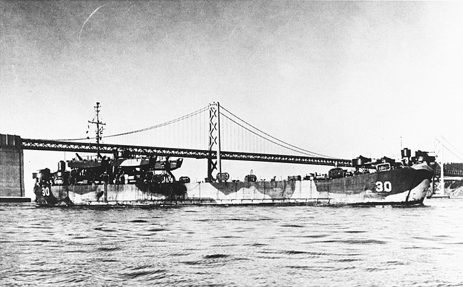 Landing ship tank USS LST-30, San Francisco Bay, 1945 (US Naval History & Heritage Command)