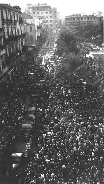 Crowds celebrating release of Lebanese prisoners by French, 22 November 1943 (Public domain via Wikipedia)