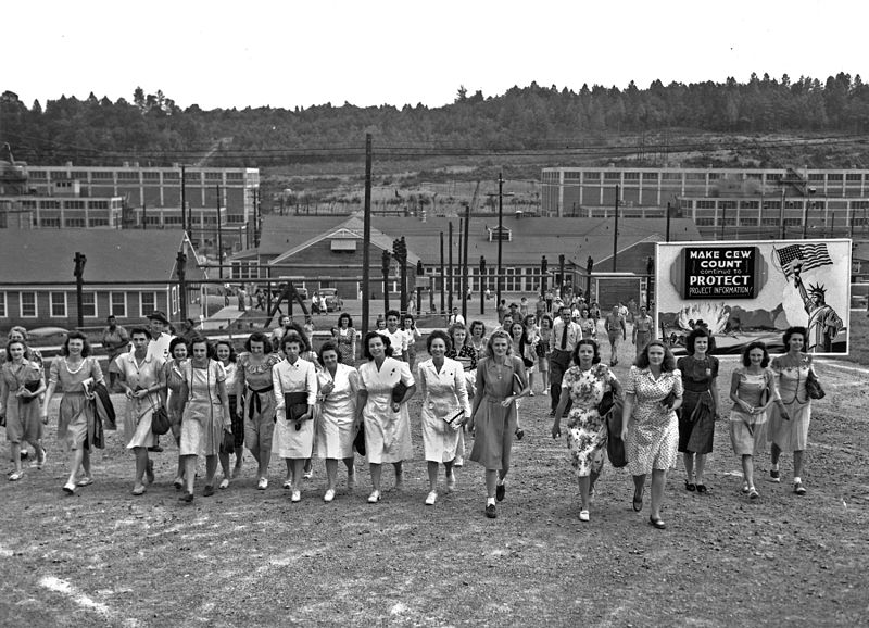 Shift change at the Y-12 uranium enrichment facility in Oak Ridge, Tennessee, during the Manhattan Project, 1945 (US Army photo)