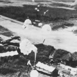 Low-flying US bombers dropping parachute bombs on Vunakanau airfield at Rabaul, 1943 (US Army Center of Military History)