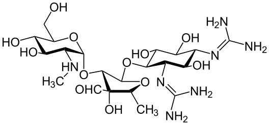 Chemical structure of streptomycin (public domain via Wikipedia)