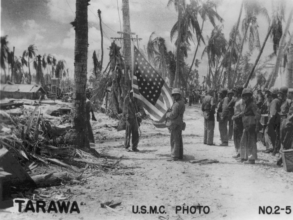 US flag on Tarawa, Gilbert Islands, Nov 1943 (US Marine Corps photo)