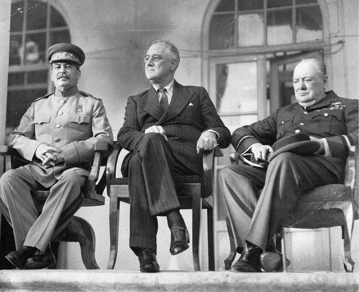 Stalin, Roosevelt, and Churchill at the Tehran Conference (US Library of Congress)