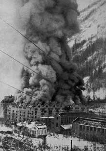 Vemork hydroelectric plant after US air raid, Telemark, Norway, 16 Nov 1943 (Source: Norsk Hydro ASA)