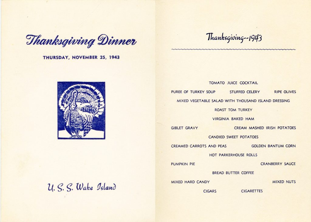 Thanksgiving menu from escort carrier USS Wake Island, 25 Nov 1943 (US Navy)