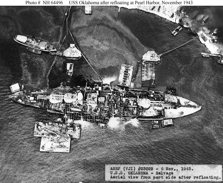 USS Oklahoma after refloating, Pearl Harbor, 6 Nov 1943 (US Navy photo)