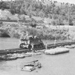 US self-propelled 105-mm howitzer on a pontoon treadway bridge at the Volturno River, Italy, 1943 (US Army Center for Military History)
