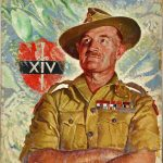 Portrait of Gen. William Slim and the badge of the Fourteenth Army, 1945 (public domain via National Archives, United Kingdom)