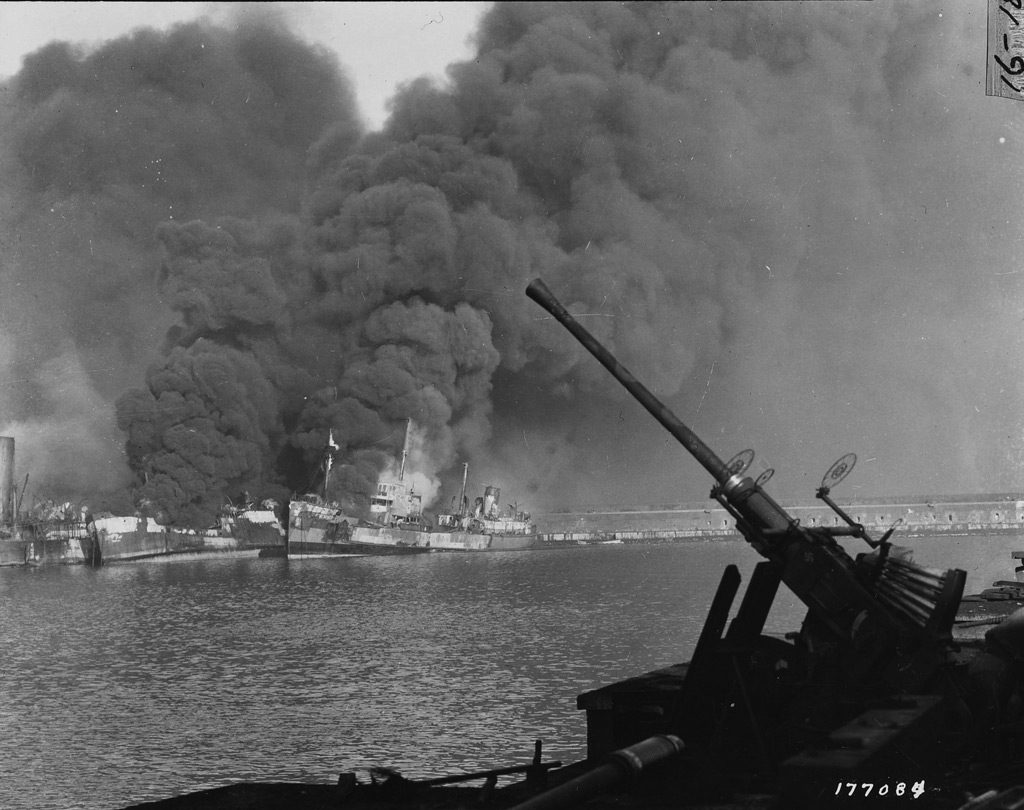 Allied ships burning at Bari, Italy, after Luftwaffe air raid 2 Dec 1943 (US Army Signal Corps)