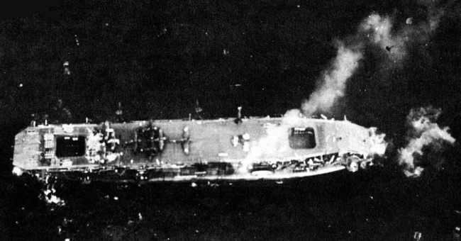 Japanese escort carrier Chuyo after torpedo strike (public domain via WW2 Database)