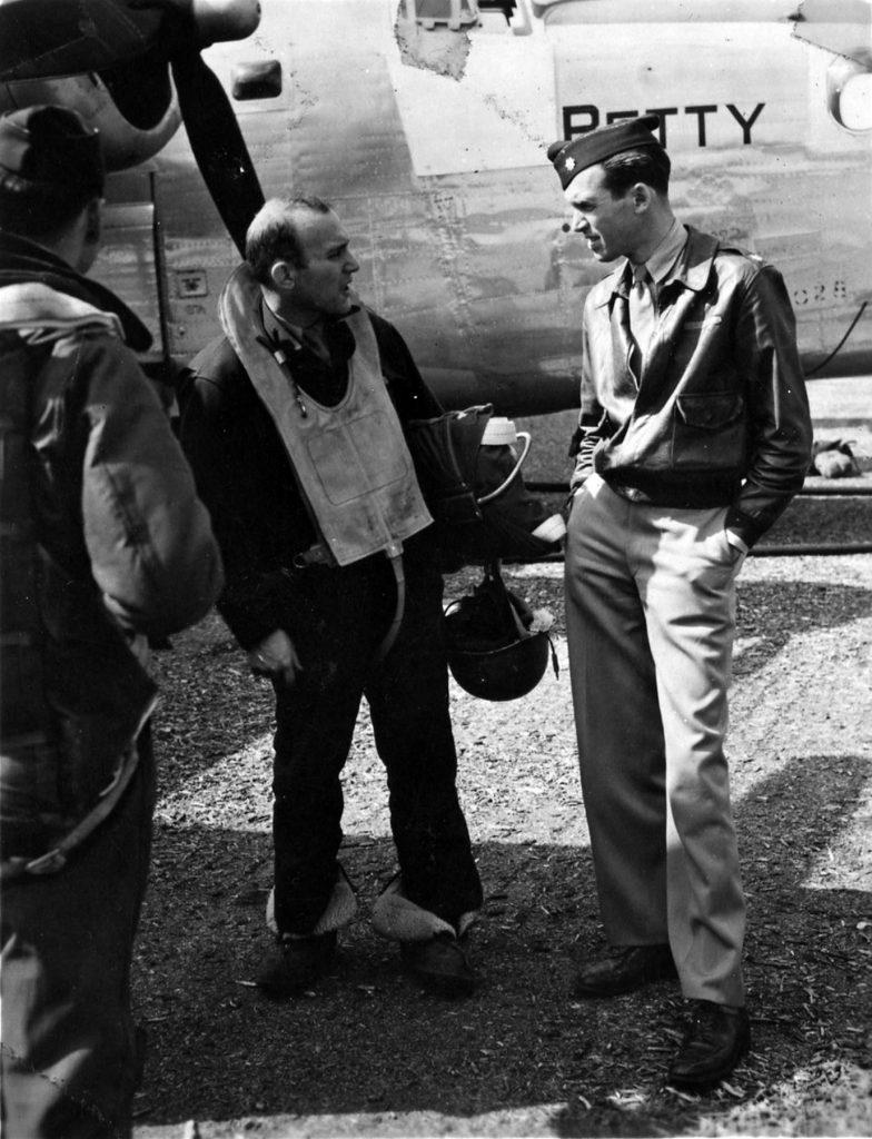 Maj. James Stewart confers with B-24 crewmen, England, 1943 (US Air Force photo)