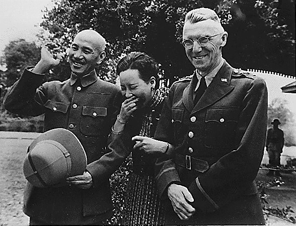 Gen. and Madame Chiang Kai-shek and Gen. Joseph Stilwell, April 1942 (US National Archives)