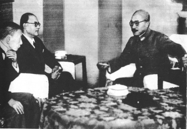 Subhash Chandra Bose and Hideki Tojo, Tokyo, Japan, 10 Jun 1943 (public domain via WW2 Database)