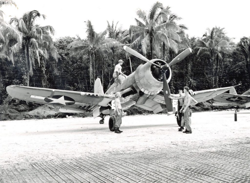 F4U-1A Corsair of Marine Squadron VMF-216 at Torokina, Bougainville, Solomon Islands, 10 Dec 1943 (US Marine Corps photo)
