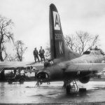 B-17G of the 94th Bomb Group at Bury St. Edmunds, England, showing damage sustained over Brunswick Germany, 11 January 1944 (USAF Historical Research Agency)