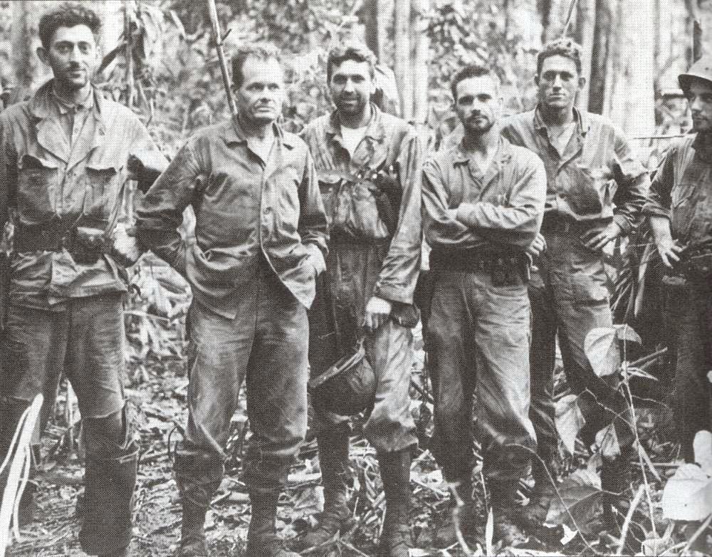 Senior staff of the US 7th Marines on Cape Gloucester, New Britain, 10 Jan 1944. (US Marine Corps photo)