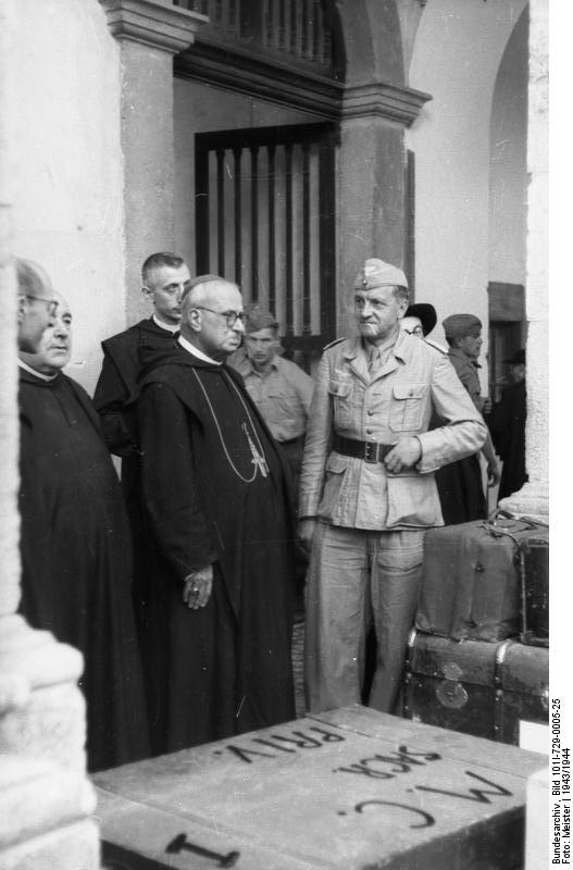 Gregorio Diamare and the ecclesiastical authorities of Monte Cassino abbey giving German Luftwaffe troops permission to remove artwork to Germany, 4 Jan 1944 (German Federal Archive: Bild 101I-729-0005-25)