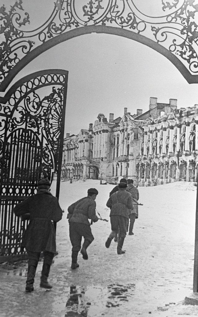 Soviet troops fighting in Pushkin district of Leningrad, Russia, 2 Jan 1944 (Russian International News Agency image #309/Boris Kudoyarov)