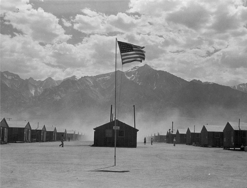 War Relocation Authority Center at Manzanar, CA, 3 July 1942 (US Government photo, photographer: Dorothea Lange)