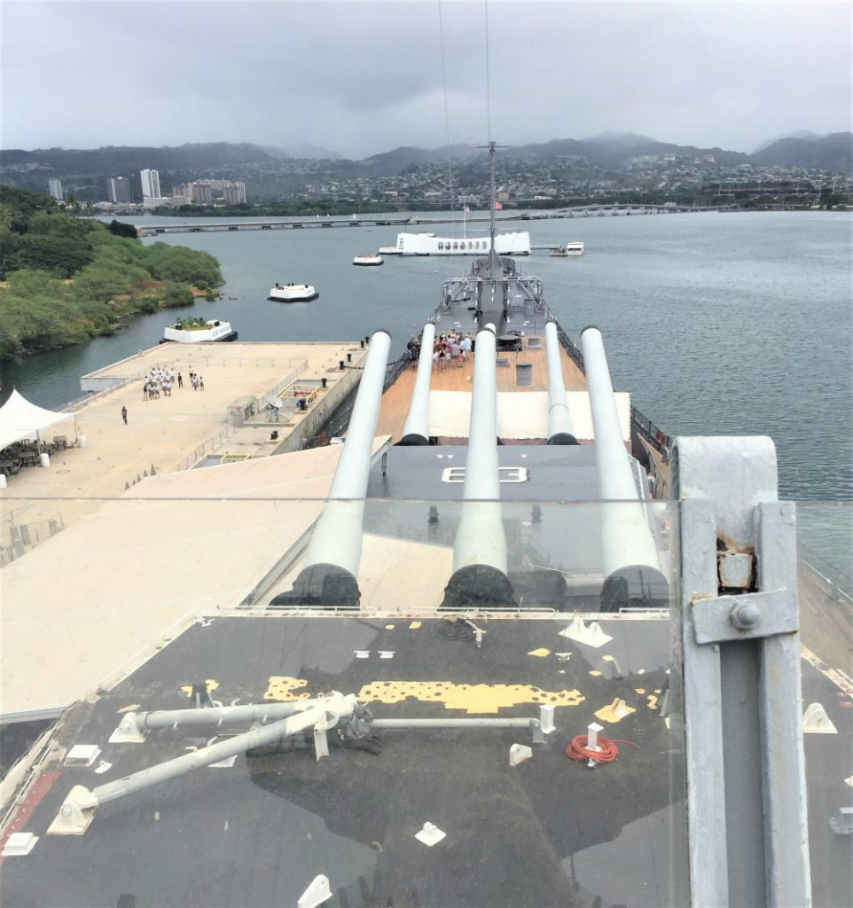 Guns of the battleship USS Missouri keeping watch over the USS Arizona Memorial, Pearl Harbor, HI, November 2016 (Photo: Sarah Sundin)