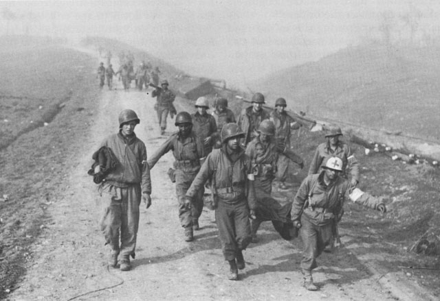 US casualties being brought back from the Rapido in Italy, January 1944. (US Army Center of Military History)