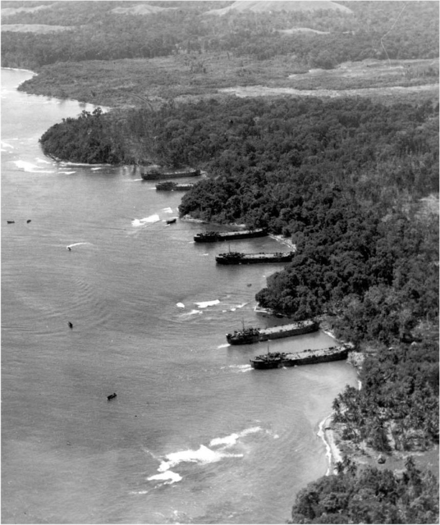 US LSTs (Landing Ship, Tank) at Saidor, New Guinea 2 January 1944 (US Army Center of Military History)