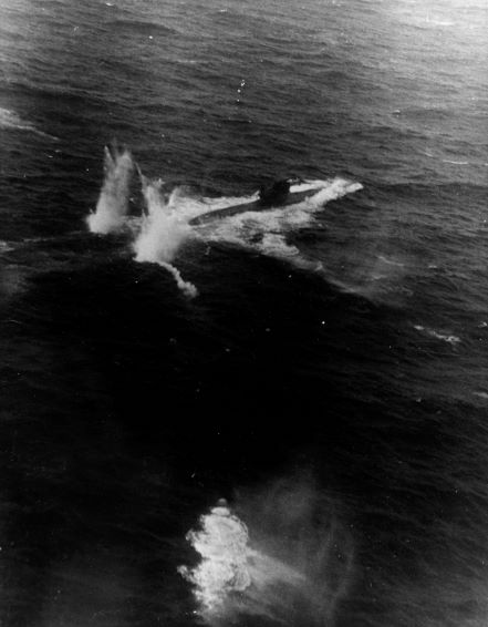 Rocket attack on German submarine U-758 by TBF Avengers from USS Block Island northeast of the Azores, 11 Jan 1944 (US Navy photo)
