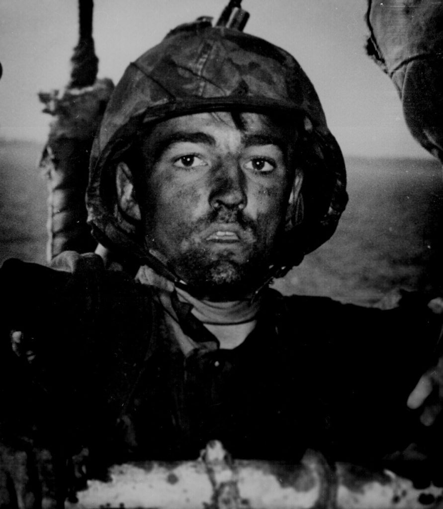A US Marine dirty after two days of fighting on Eniwetok, Feb 1944 (US National Archives)