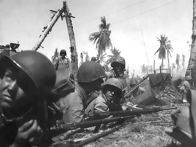US Marines on Eniwetok (US Marine Corps photo)