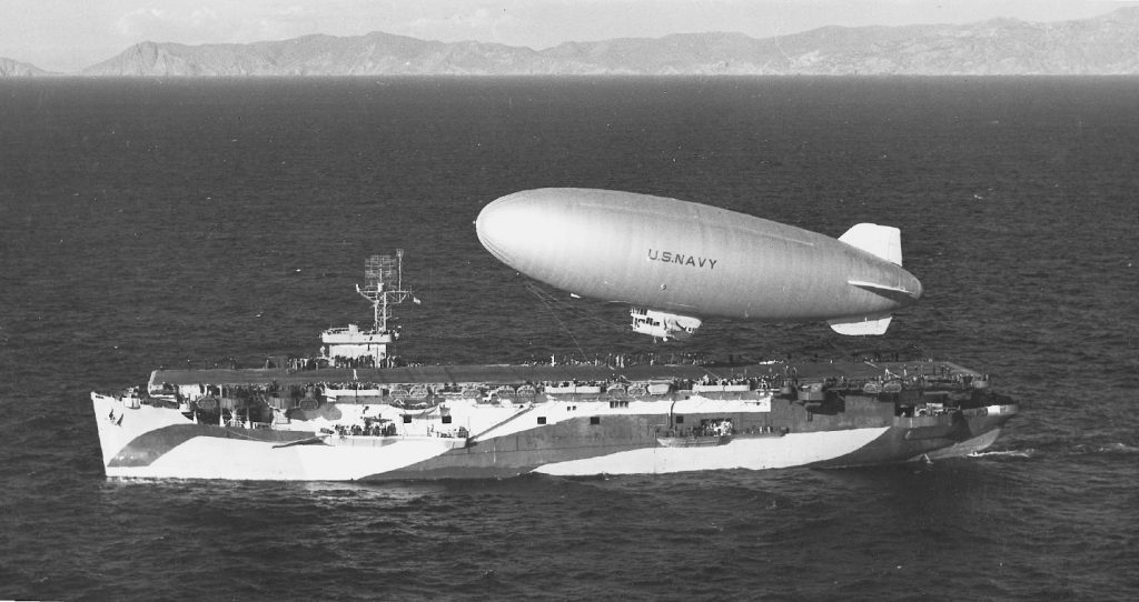 K-29 of Airship Patrol Squadron ZP-31 lifts off from escort carrier USS Altamaha off the California coast, 24 Feb 1944 (US Navy photo)