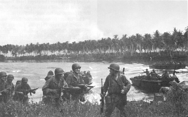 First wave of US Army troops landing on Los Negros in the Admiralty Islands, 29 Feb 1944 (US Army Center of Military History)