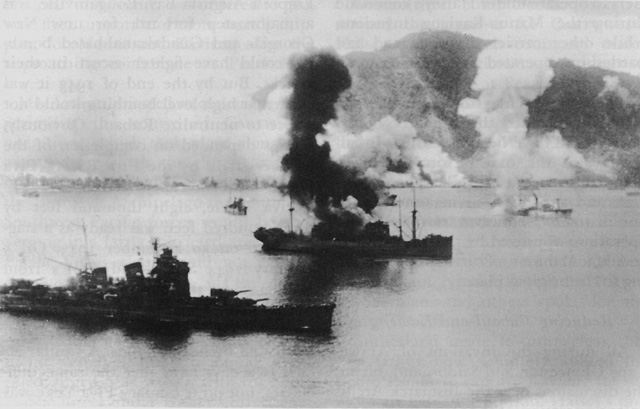 Japanese ships burning at Rabaul, Feb 1944 (US Army Center of Military History)
