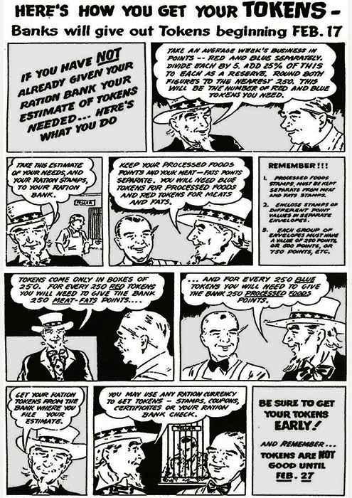 Cartoon giving information on new rationing tokens, February 1944 (US government publication)