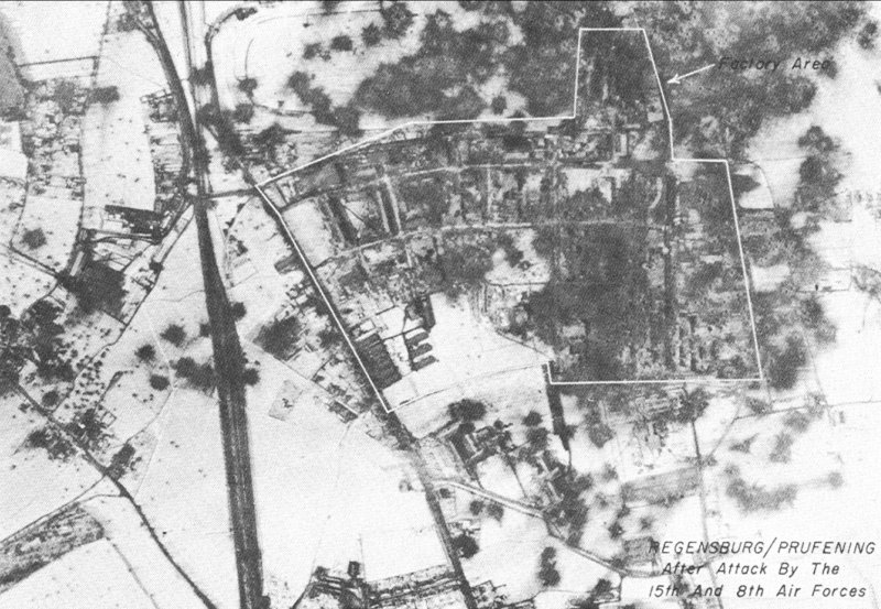 Strike photo of Regensburg after 25 February 1944 raid by US Eighth and Fifteenth Air Forces (US Air Force photo)