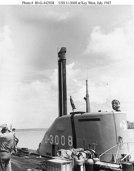 Submarine USS U-3008 (former German sub U-3008) with snorkel raised. (US Navy photo)