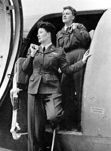 WASP C-47 flight crew: Pilot Joanna Trebtoske (Jenks), left, and Copilot Marjorie Logan (Rolle) at Romulus Army Air Field, MI (US Air Force photo)