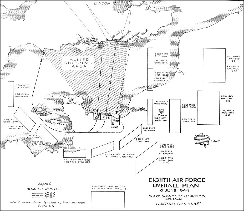 Map of the US Eighth Air Force plan for 6 June 1944 (From Sunday Punch in Normandy: The Tactical Use of Heavy Bombardment in the Normandy Invasion. Washington, DC: Center for Air Force History, 1992 (new imprint). Public domain via Hyperwar website)