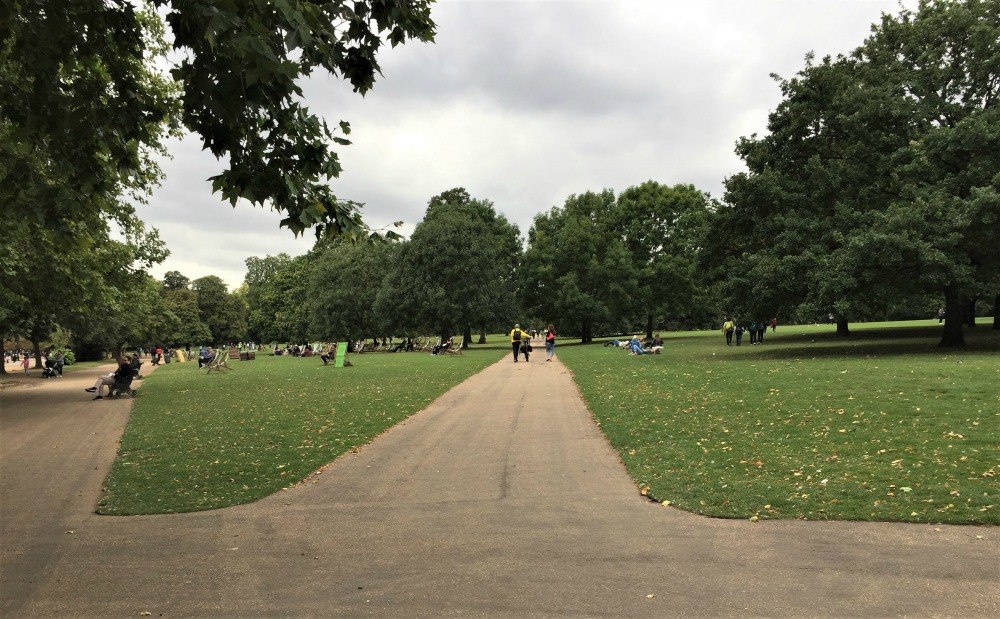 Where paths intersect in Hyde Park...where lives intersect in The Sky Above Us (Photo: London, September 2017, Sarah Sundin)