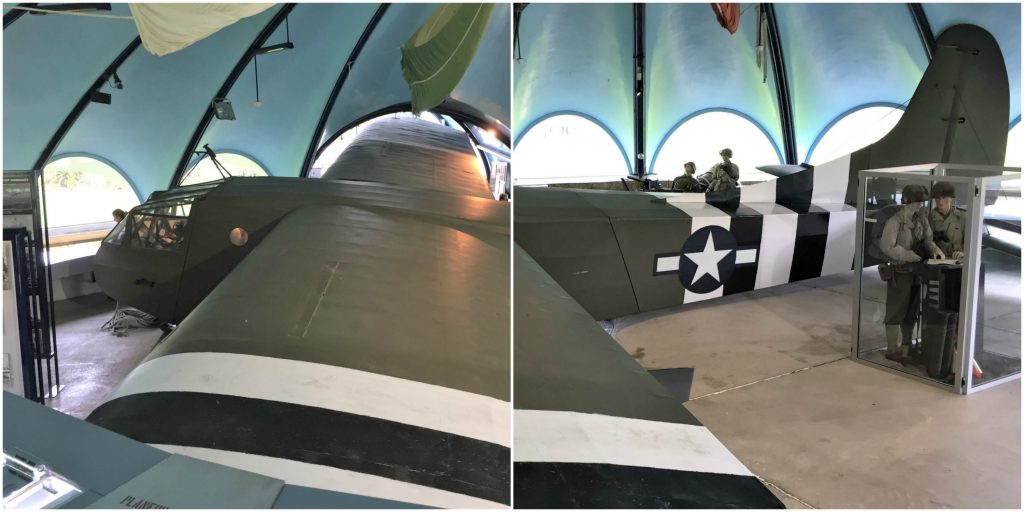 Waco glider (2 photos superimposed) at the Airborne Museum, Sainte-Mère-Église, France, September 2017 (Photo: Sarah Sundin)