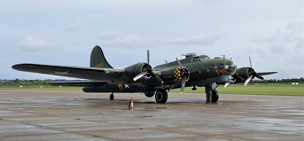 "B-17 Flying Fortress ""Sally B"" (also painted as the ""Memphis Belle"" on one side), Imperial War Museum, Duxford, England, September 2017 (Photo: Sarah Sundin)"