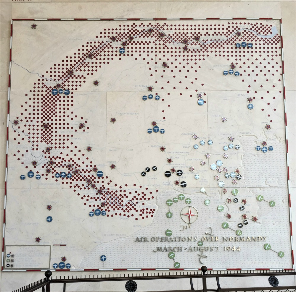 Map of Allied aerial operations from March-August 1944, Normandy American Cemetery and Memorial, Colleville-sur-Mer, France, September 2017 (Photo: Sarah Sundin)