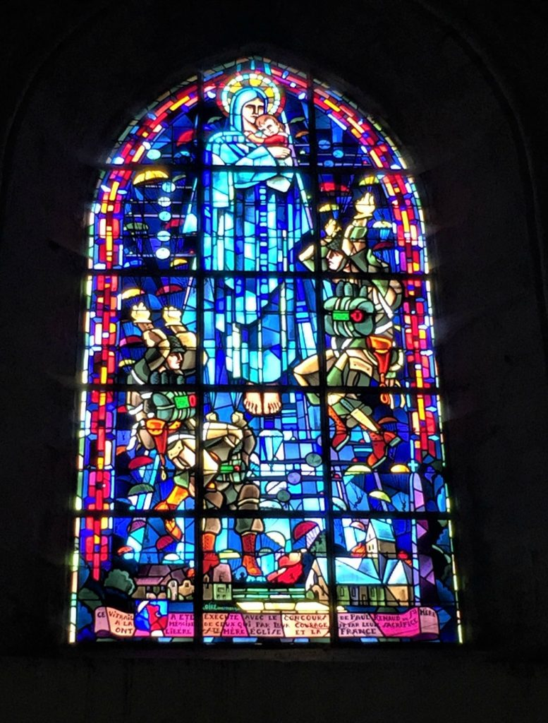 Memorial window for US paratroopers in church of Sainte-Mère-Église, France. (Photo: September 2017, David Sundin)