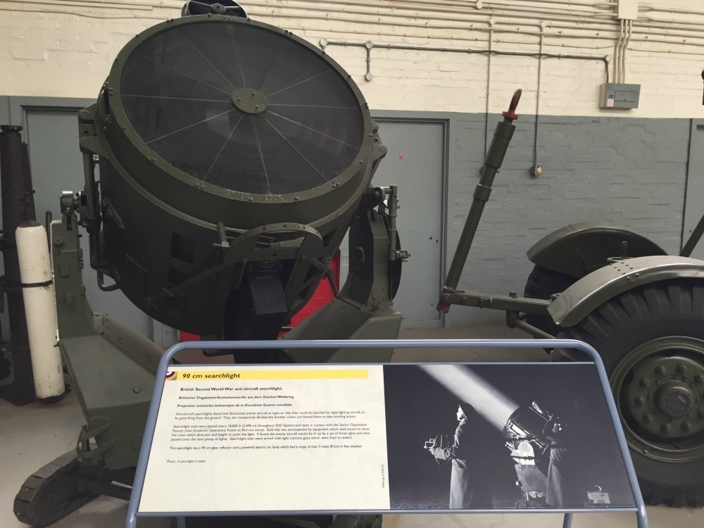 RAF searchlight, Imperial War Museum, Duxford, England, September 2017 (Photo: Sarah Sundin)