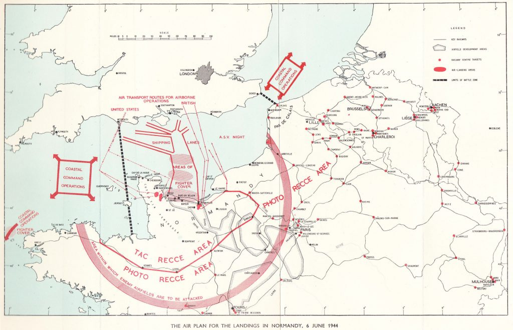 Map of the Allied air plan for the landings in Normandy, 6 June 1944. (From Saunders, Hilary St. George. Royal Air Force 1939-1945, Volume III: The Fight Is Won. London: Her Majesty's Stationery Office, 1954. Public domain via Hyperwar website).