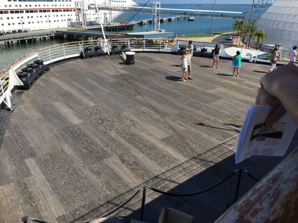 Looking down on the main deck at the stern of the Queen Mary. Long Beach, CA, June 2017 (Photo: Sarah Sundin)