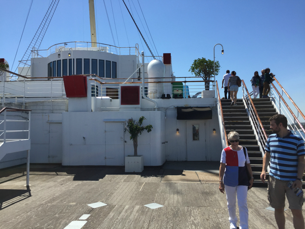 Promenade deck of the Queen Mary, stairs up to the sun deck. Long Beach, CA, June 2017 (Photo: Sarah Sundin)