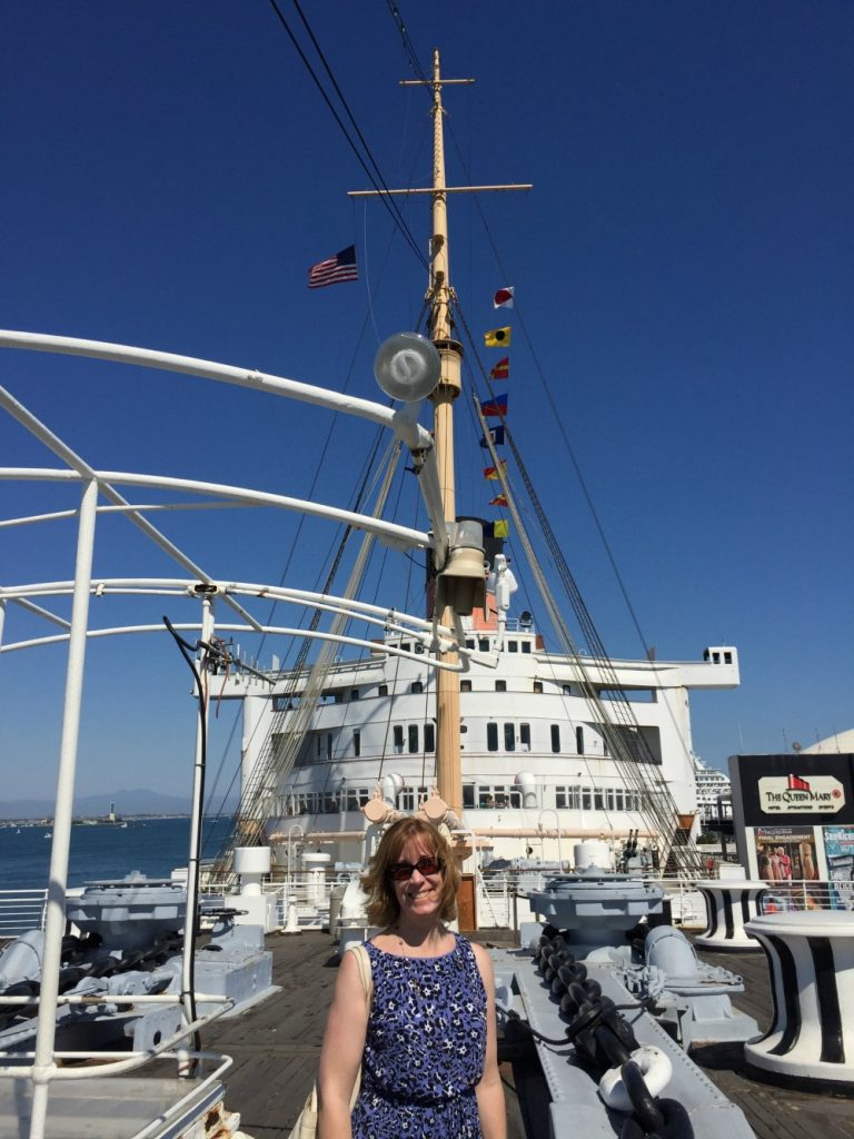 Sarah Sundin on the Queen Mary, Long Beach, CA, June 2017 (Photo: Sarah Sundin)